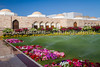 Part of the Al alam Royal Palace with flower gardens in Muscat, Oman.