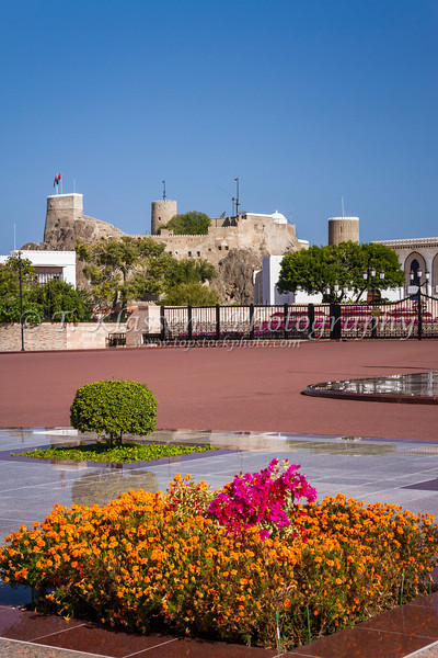 The Al Mirani fort and part of the Al Alam Royal Palace in Muscat, Oman.