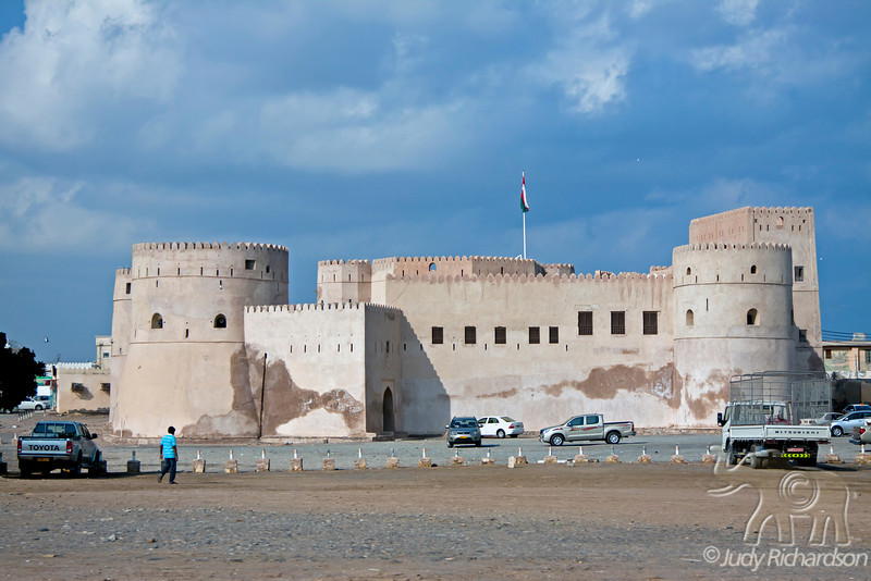 Al Na'man Fort in Barka, Oman is an impressive structure as you enter the area around the fish and vegetable market on the beach.