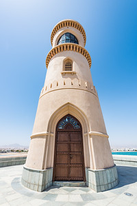 A wide-angle view of the lighthouse in the suburb of Ayjah in the port of Sur, Oman.
