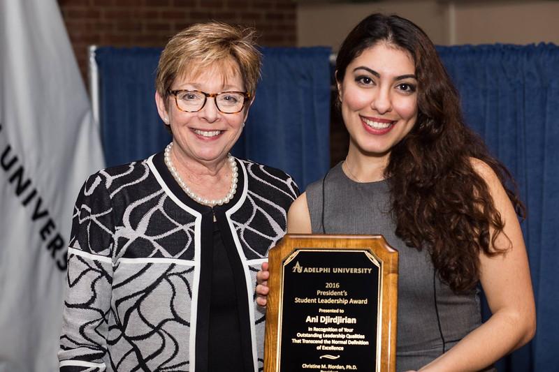 Provost and Senior Vice President for Academic Affairs Gayle D. Insler, Ph.D. with Ani Djirdjirian - President's Student Leadership Award