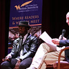 Nana Kwame Adjei-Brenyah, author of Friday Black, UAlbany Class of 2013, speaks during a New York State Writer's Institute at the University at Albany Performing Arts Center on Tuesday, October 30, 2018. (photo by Patrick Dodson)