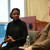 NYC Subway Conductor and Author Sujatha Gidla speaks with Paul Grondahl, director of the New York State Writers Institute, in the Science Library Standish Room at the University at Albany on Tuesday, October 24, 2018. (photo by Patrick Dodson)