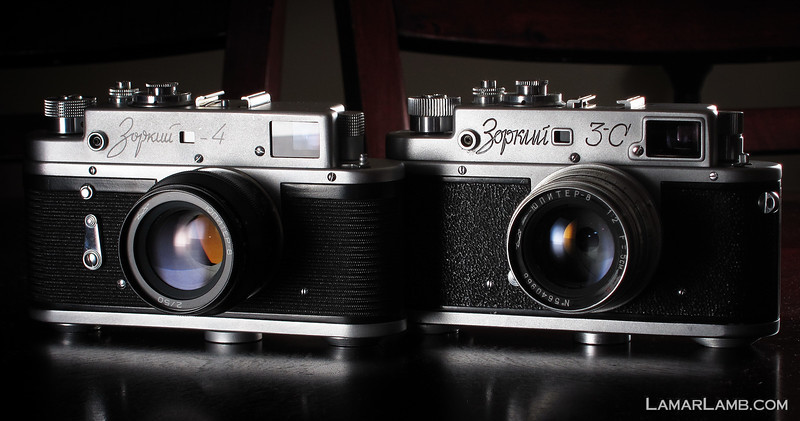 My camera's from behind the Iron Curtain......  Russian Rangefinders.  A Zorki 4 from 1971 and a Zorki 3C (3S in english) from 1956.