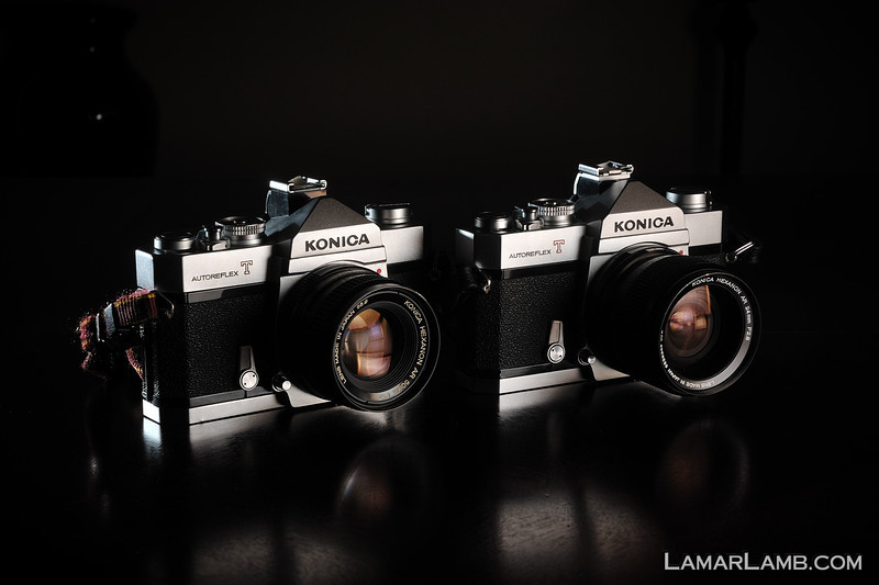 The twins.  Two Konica AutoReflex T2's.  One with a 50mm f/1.7 Hexanon and the other with a 24mm f/2.8 Hexanon