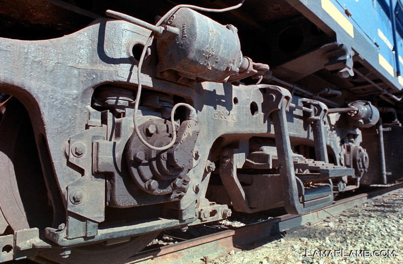 Heart of Georgia Railroad EMD GP40 #1740 in Vidalia, Georgia. Camera: Nikon F Photomic FTn; Lens: Nikkor 24mm f/2.8 AIs; Film: Rollei CN200