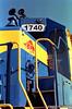 Heart of Georgia Railroad EMD GP40 #1740 in Vidalia, Georgia. Camera: Nikon F Photomic FTn; Lens: Nikkor 24mm f/2.8 AIs; Film: Rollei CN200