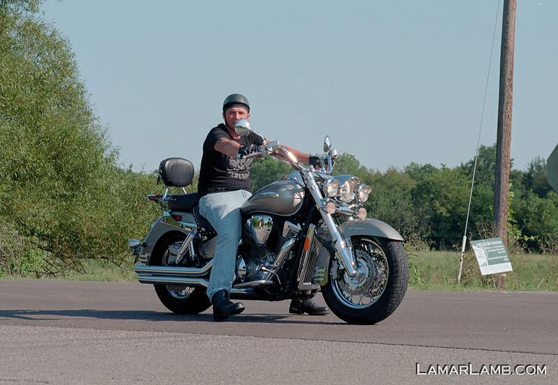 Motorcycle in Christiana Tennessee. Camera: Nikon  F Photomic FTn; Lens: Nikkor 50-135mm f/3.5 AIs; Film: Kodak Ektar 100