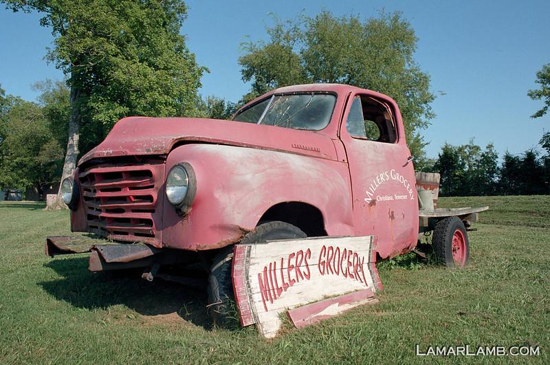 Studebaker truck at Miller's Grocery, Christiana Tennessee. Camera: Nikon  F Photomic FTn; Lens: Nikkor 24mm f/2.8 AIs; Film: Kodak Ektar 100