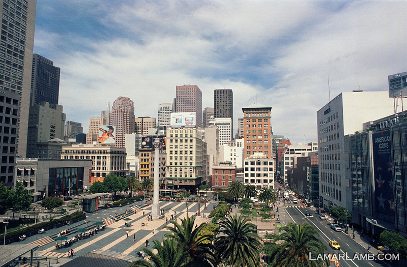 Union Square from the 4th floor of the St Francis Hotel, San Francisco, California. Camera - Nikon FM; Lens - Nikkor 24mm f/2.8 AIs; Film - Kodak Ektar 100 developed in Rollei Digibase C41 Chemicals.  Scanned with Nikon CoolScan V ED.