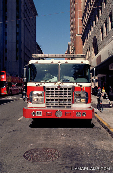 San Francisco fire fighters stopped for breakfast at La Taza on Post Street.  Camera - Nikon FM; Lens - Nikkor 24mm f/2.8 AIs; Film - Kodak Ektar 100 developed in Rollei Digibase C41 Chemicals.  Scanned with Nikon CoolScan V ED.