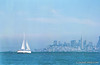 Sail boat in San Francisco Bay with the city in the background. Taken from Sausalito California. Camera - Nikon FM; Lens - Nikkor 35-200mm f/3.5-4.5 AIs; Film - Kodak Ektar 100 developed in Rollei Digibase C41 Chemicals.  Scanned with Nikon CoolScan V ED.