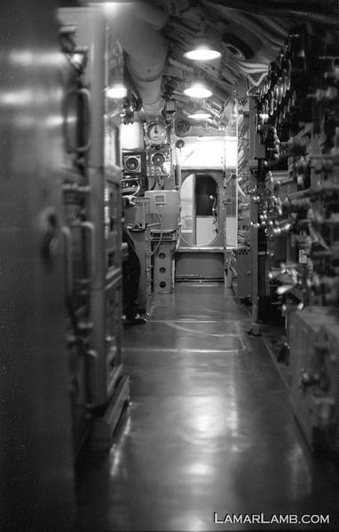 USS Pampanito located at Pier 45, Fisherman's Wharf, San Francisco, California.   Camera - Nikon FM; Lens - 35mm f/1.4 Nikkor-N Auto; Film - Ilford Delta 400 shot at ISO 1600 and pushed 2 stops in Kodak XTOL.
