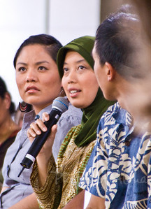 Panel Discussion Participants on Friday, April 4 in The Pavilion  Student activists Chelsea Chee, and Erda Rindrasih  Erda Rindrasih is from INDONESIA,  Master Student in Department of Urban and Regional Planning,  East West Center.    Chelsea Chee, from the Navajo Nation, is a student educator/activist with Black Mesa Water Coalition and Indigenous Environmental Network