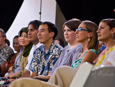 Student Activists at Blue Planet Summit from left (partially hidden) Chelsea Chee, Navajo; Erda Rindrasih, Indonesia; Cristian Beccera Monroy, Mexico; Andrew Aoki (not a student), Anna Rose, Australia; Silvia Gianetti Barber (UH ) & Shannah Trevenna (UH)