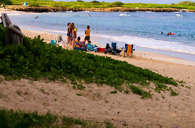 Kevin, Marie, and friends gather on the beach of the Maleakahana Camp Grounds, late mid-May afternoon. Malaekahana Bay is between Laie and Kahuku, on Oahu's North Shore, Hawaii