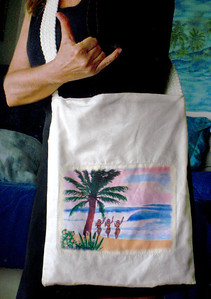 I'm wearing Art from DrewToonz on this canvas bag I created