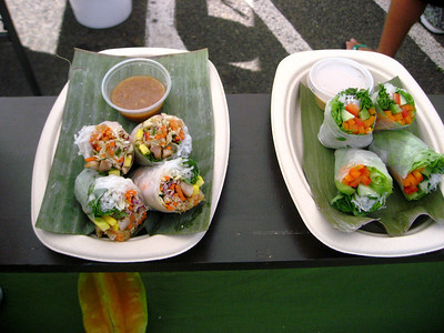 Endless Summer Rolls   Happy's Green Catering  North Shore Country Market  held at Sunset Elementary School every Saturday morning  Mauka Ehukai Beach Park  North Shore, Oahu, Hawaii  October 31, 2009 - Halloween Day