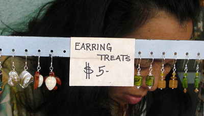 Minnie's earring treats  North Shore Country Market  held at Sunset Elementary School every Saturday morning  Mauka Ehukai Beach Park  North Shore, Oahu, Hawaii  October 31, 2009 - Halloween Day