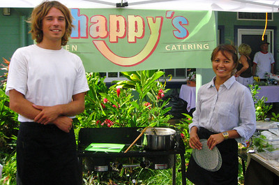 Nicolas & Lan -  Happy's Green Catering  North Shore Country Market  held at Sunset Elementary School every Saturday morning  Mauka Ehukai Beach Park  North Shore, Oahu, Hawaii  October 31, 2009 - Halloween Day