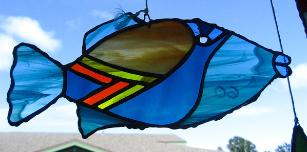 Malousions Stained Glass  North Shore Country Market  held at Sunset Elementary School every Saturday morning  Mauka Ehukai Beach Park  North Shore, Oahu, Hawaii  October 31, 2009 - Halloween Day