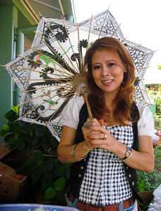 Touy with a pretty sun umbrella