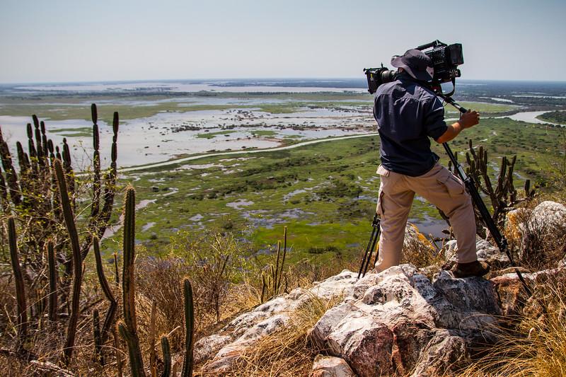 Filming the Pantanal from the Amolar mountains, matogrossense national park, Pantanal, Brazil.