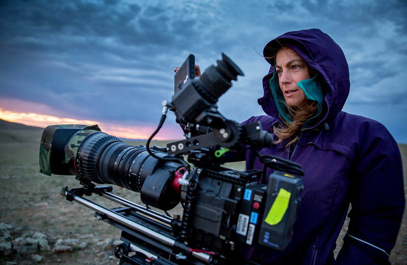 Camera woman Sue Gibson @smgibbo filming for #BBCEarth in #Mongolia #Filming #Red #Camera #Sunset #Cinematography @paramooutdoor