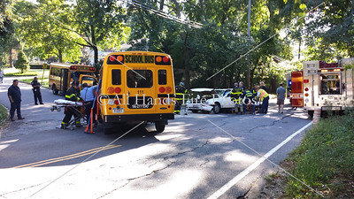 Just before 3:30 PM, the Locust Valley fire Department was dispatched to this accident on Skunlks Misery Rd in Lattingtown where a car struck a school bus carrying children. Both drivers were transported to the hospital, and the Children were picked up from the scene by their parents. (Photo credit: Mark Bellew) September 30th, 2013  Skunks Misery Rd & Wood Ln, Lattingtown  Car vs school bus with 6 children on board. Driver of school bus was transported to Glen cove Hospital, driver of the car was transported to Nassau University Medical Center.  Locust Valley fire Department – Assistant Chief Kevin Barry Nassau county Police Department – 2nd Precinct Locust valley School district, Bus number 111  Mark Bellew All Hands fire Photos 845-453-9882