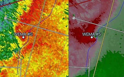 Super-Resolution Reflectivity and Velocity Radar Images of The Storm As It Struck