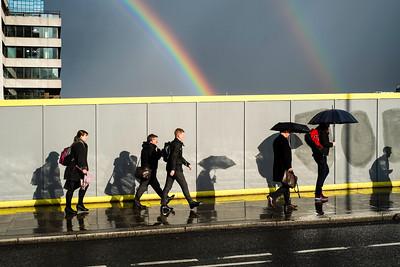 Rainbow over Thames River, from London Bridge, London, United Kingdom