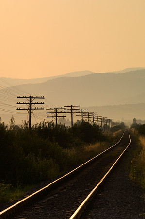 Electric poles running along railway lines near Sapanta, Maramures, Romania