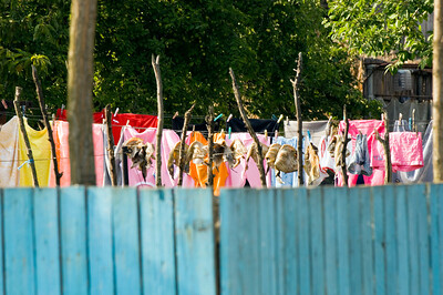 Europe, Romania, The Danube Delta, Sulina, fish and clothes left to dry