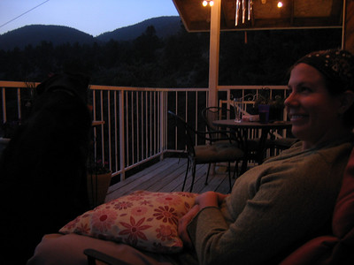 Heidi and Cody relaxing on the deck.