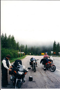 Top of Lolo pass on the way out of Missoula. Early July andabout freezing!!!! We had to put on ever piece of clothing we brought.