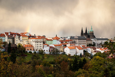 Rainbow and Prague Castle from Petrin Hill