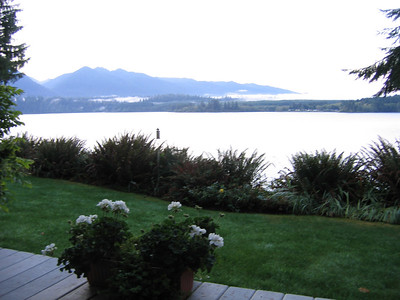 The view from the deck out side my room at Lake Quinault