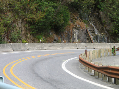 You might think this is a picture of the water falling down the rock walls among the trees. Nope, its a photo of a nice curve just as you leave the Gorge Falls Overlook. I'm a biker, what can I say.