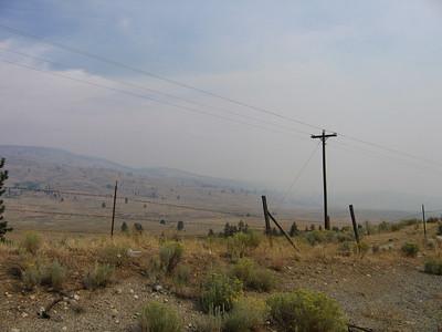 Smoke from a wild fire north of Omak, WA.