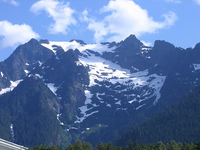 Snow capped peak overlooking Darrington, WA. Much of the snow still remains, in JULY!!