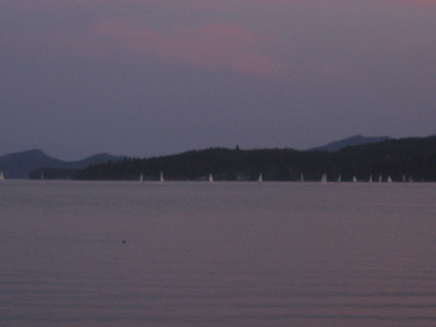 Sailboats in the dusk at Big Arm Bay.