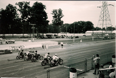 Vintage flat track racing at the fairgrounds during VMD. Rwwwooooaaaaaarrrrrrrrr!!!