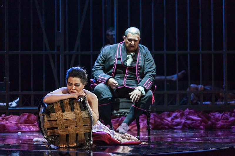 """Hui He (Soprano) sings Tosca and Ambrogio Maestri (Baritone) sings Scarpia in the opera """"Tosca"""" (G. Puccini, 1900). Teatro de la Maestranza, Seville."""