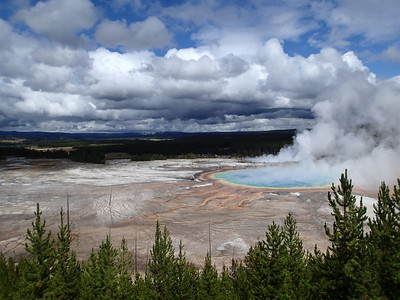 Grand view of Grand Prismatic Spring, Yellowstone, Wyoming