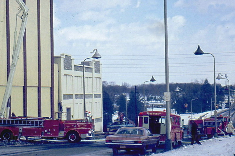 Hershey units operate at a fire on the roof of the Hershey Chocolate Factory