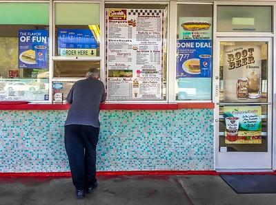 Order Here, Sno-White drive-in, Oakdale, California