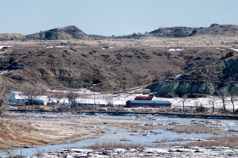 """Slope County ranch along the Little Missouri River and ice near Marmarth<br /> <br /> You can own this print. Just click the """"buy"""" button for product options."""