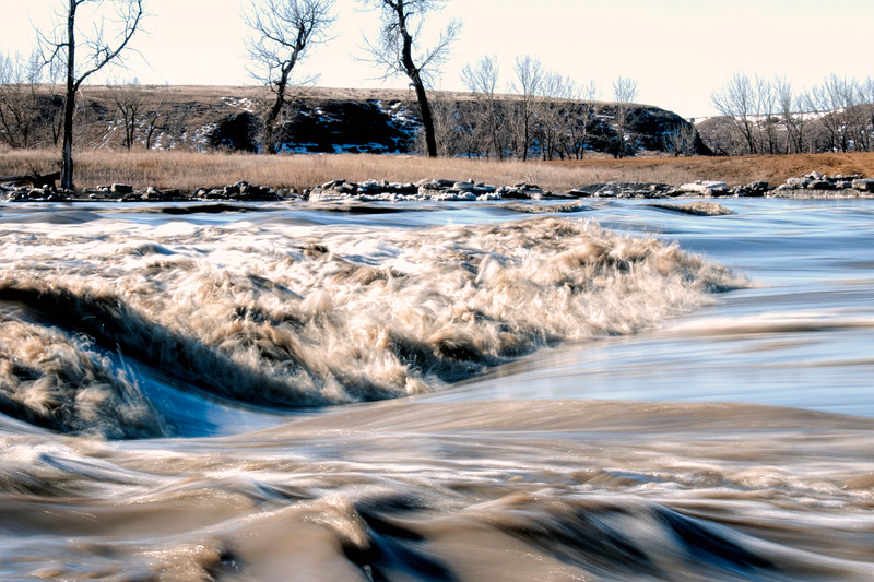 """Do not cross here, at least not when the spring ice and water floods the Three V crossing, north of Marmarth on the Little Missouri River.<br /> <br /> You can own this print. Just click """"buy."""""""