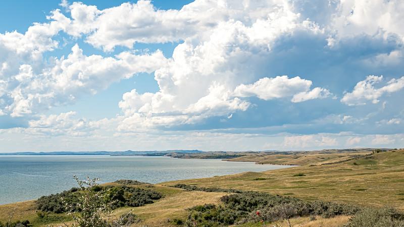 Lake Sakakawea, North Dakota.  Where Elbowoods Used to Be
