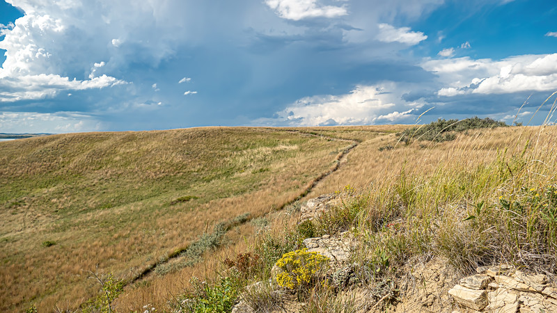 The Trail Leads to Stormy Summer Skies, Nux Baa Ga Trail. Indian Hills, North Dakota